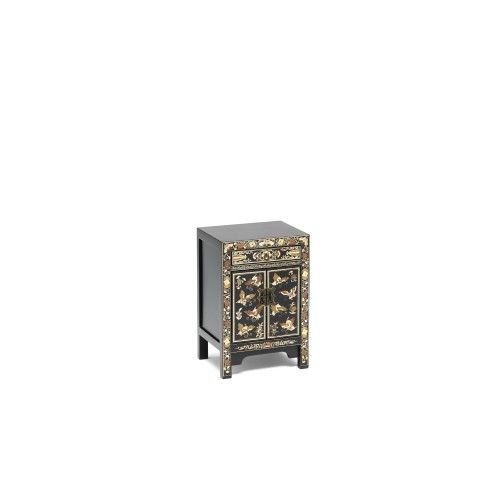 40203 - The Nine Schools Oriental Decorated Black Small Cabinet