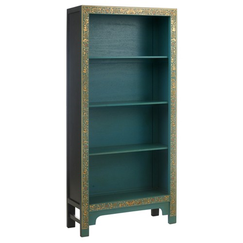 40235 - The Nine Schools Oriental Decorated Blue Bookcase