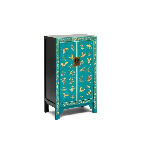 40201 - The Nine Schools Oriental Decorated Blue Medium Cabinet