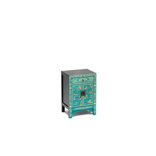 40284 - The Nine Schools Oriental Decorated Blue Small Cabinet
