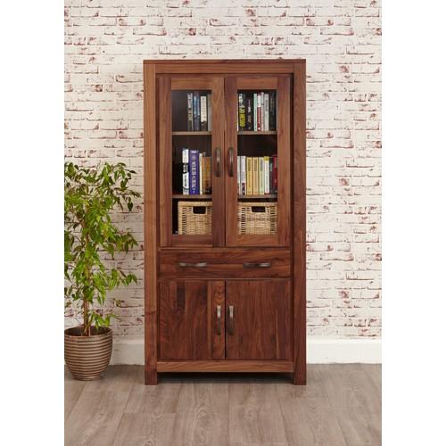 Mayan Walnut Large Glazed Bookcase