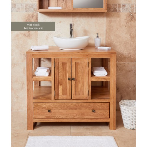 Bathroom Collection - Solid Oak Two Door Single Sink Unit (Round)