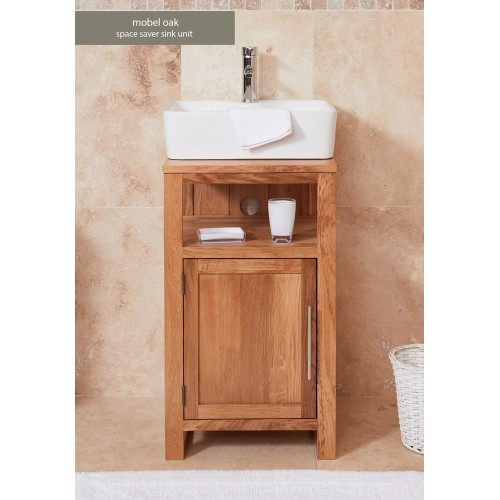 Bathroom Collection - Solid Oak Single Door Sink Unit (Square)