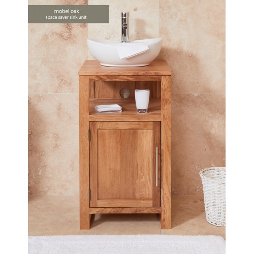 Bathroom Collection - Solid Oak Single Door Sink Unit (Round)