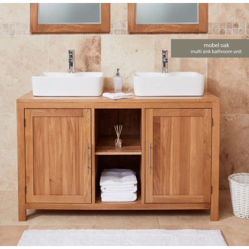 Bathroom Collection - Solid Oak Dual Sink Unit with Two Doors (Square)