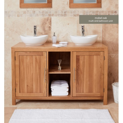 Bathroom Collection - Solid Oak Dual Sink Unit with Two Doors (Round)