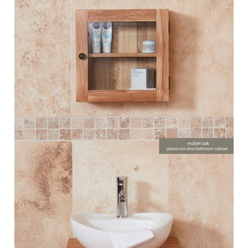 Bathroom Collection - Solid Oak Glass Single Door Cabinet