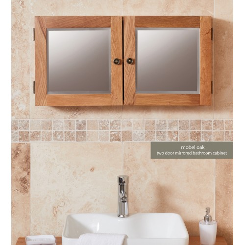 Bathroom Collection - Solid Oak Mirrored Double Door Cabinet