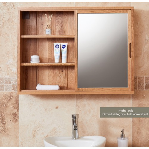 Bathroom Collection - Solid Oak Mirrored wall shelf unit