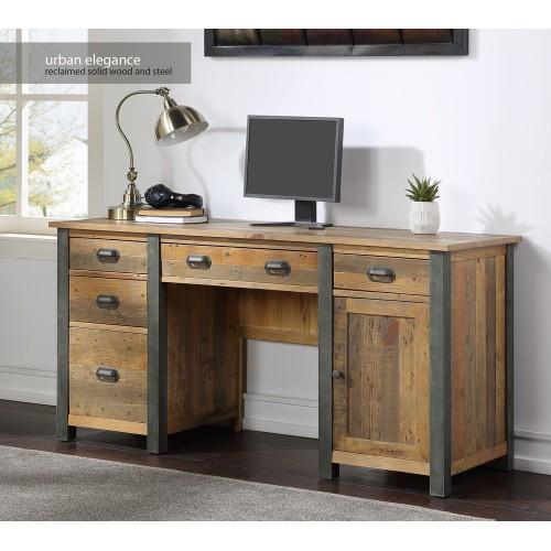 Urban Elegance - Reclaimed Twin Pedestal Home Office Desk