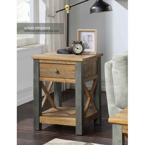 Urban Elegance - Reclaimed Lamp Table With Drawer
