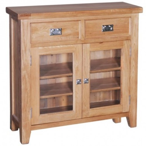 Elegance Oak Small Bookcase With Glass Door