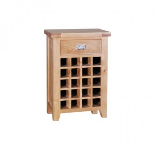 Elegance Oak Wine Cabinet With 1 Drawer