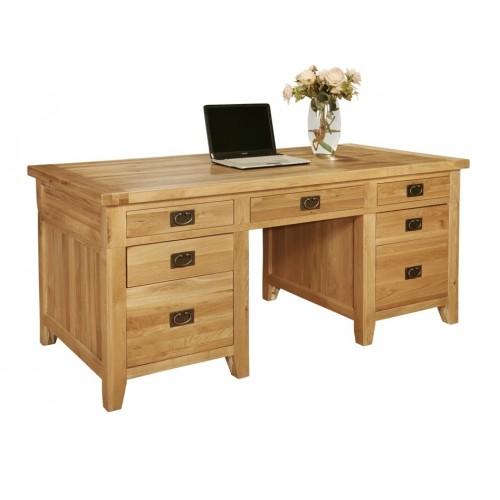 Provence Oak 7 Drawer Twin Pedestal Desk