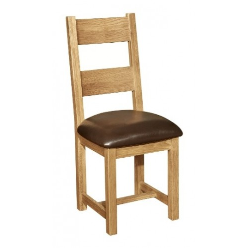 Provence Oak Dining Chair with Faux Leather Seat - Chocolate Colour