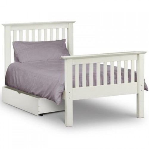 Barcelona Bed High Foot End Stone White 90cm