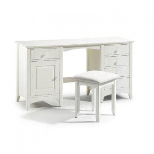 Cameo Twin Pedestal Dressing Table Stone White Finish