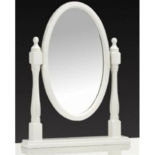 Josephine Oval Dressing Table Mirror Stone White Finish