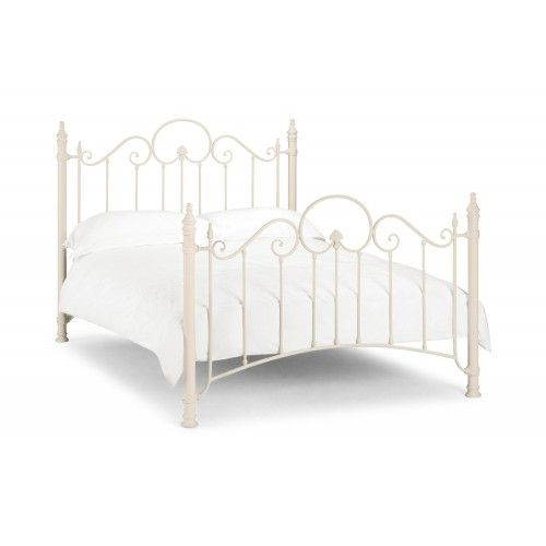 Paris Bed Stone White Finish 135cm Metal Bed