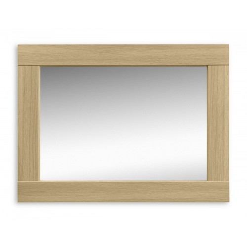 Strada Wall Mirror Light Oak Finish In Smoked High Gloss