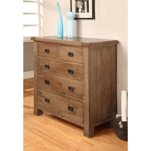 2 over 3 Chest of Drawers Rustic Oak