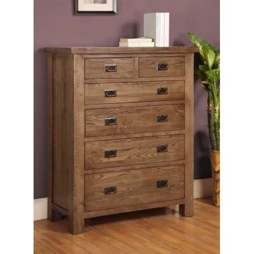 2 over 4 Chest of Drawers Rustic Oak