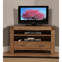 Corner TV Cabinet with1drawer and 2 shelves Rustic Oak