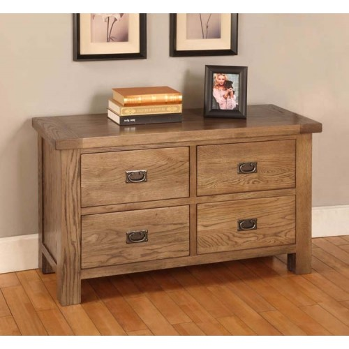 Long 4 Drawer Chest of Drawers Rustic Oak
