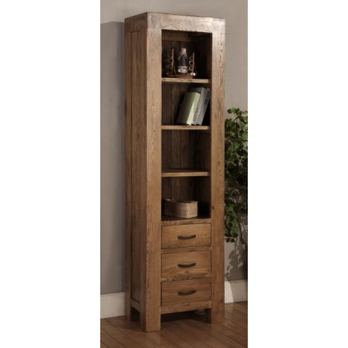 Slim Bookcase with 3 Drawers Rustic Oak
