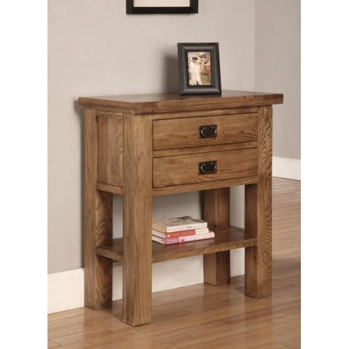 Small Console Table 2 Drawers 1 Shelf Rustic Oak