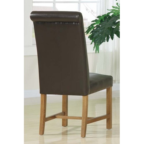 Monastery Dining Chair roll back dark brown leather