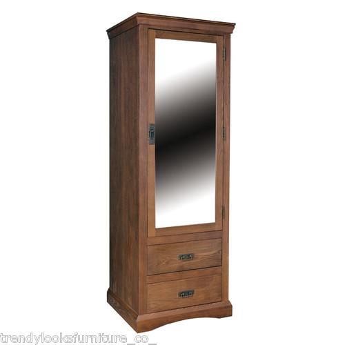1 Mirrored Door, 2 Drawer Wardrobe Paris