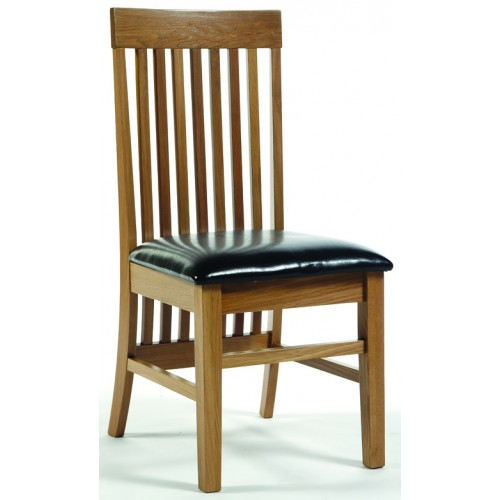 High Back Dining Chair In Brown Faux Leather Hamilton