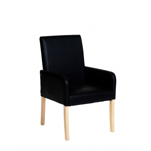 Occasional Chair In Black Faux Leather  Milano Upholstered