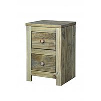 2 drawer petite bedside cabinet Hacienda Waxed Pine