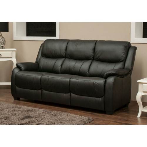 Amy Sofa Bonded Leather 3 Seater Black