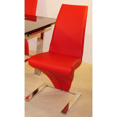Ankara Dining Chair Chrome & Red