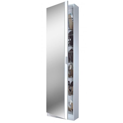 Arctic Shoe Cabinet Mirrored Door & 6 Shelv High Gloss White