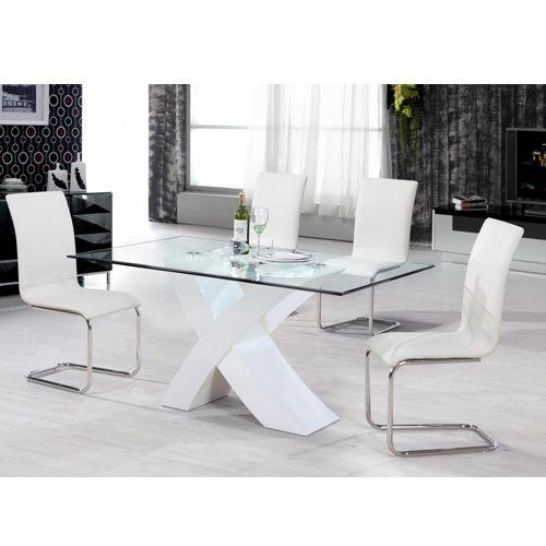 Arizona High Gloss Dining Chair Chrome & White