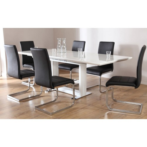 Alodia High Gloss Ext Dining Table White & Black