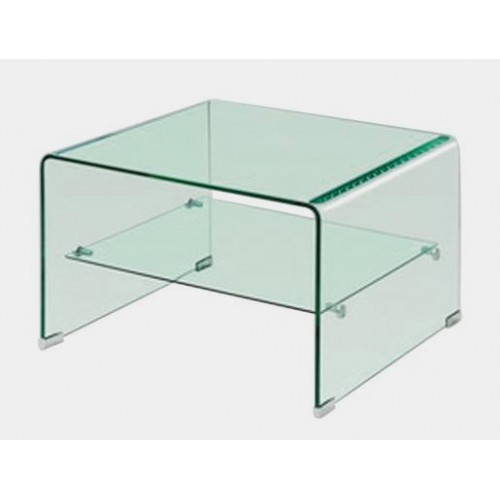 Angola Clear Lamp Table with Shelf