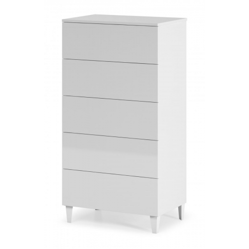 Arctic Chest 5 Drawer High Gloss White
