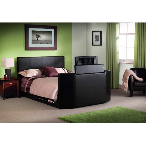 Balmain TV King Size Bed PU Black