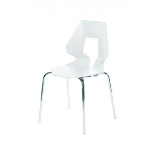 Bianca Plastic (PP) Chairs White with Steel Chrome Legs (4s)
