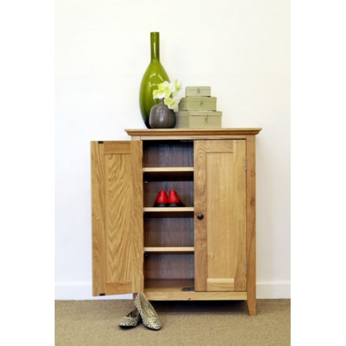 Hereford Rustic Oak 2 Door Cupboard/Shoe Cabinet
