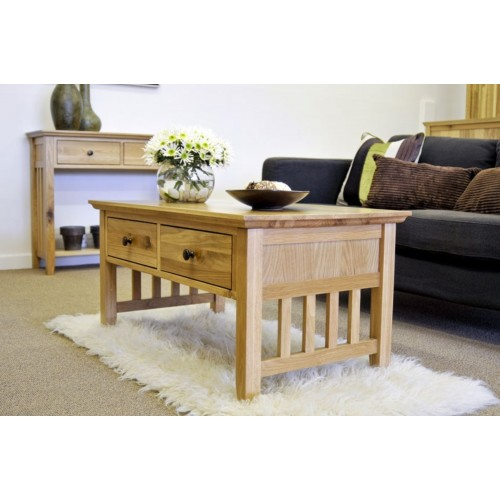 Hereford Rustic Oak Coffee Table with Drawers