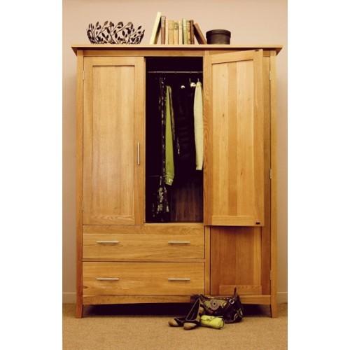Hereford Oak Three Door Gents Wardrobe