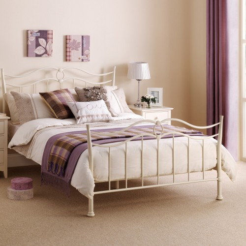 Katrina Bed Stone White Finish 150cm Metal Bed