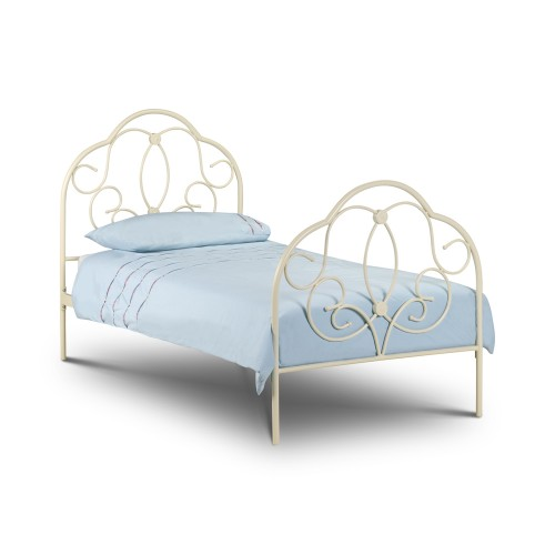 Arabella Bed Stone White Finish 150cm Metal Bed