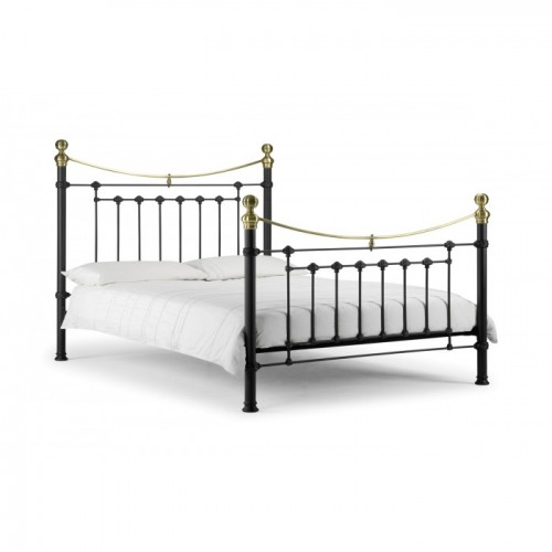 Victoria Bed Stone White With Satin Black with Real Brass 135cm Metal Bed